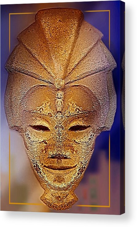 Sculpture Acrylic Print featuring the relief Mysterious Ancient Asian Mask by Hartmut Jager