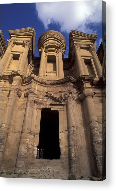 Petra Acrylic Print featuring the photograph Nabataean Traders Stand In The Doorway by Richard Nowitz