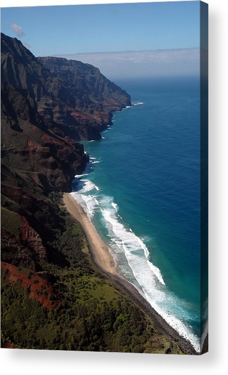 Hawaii Acrylic Print featuring the photograph Napali Cliffs by Kathy Schumann