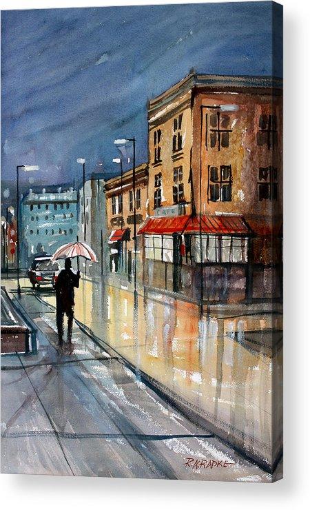 Street Scene Acrylic Print featuring the painting Night Lights by Ryan Radke