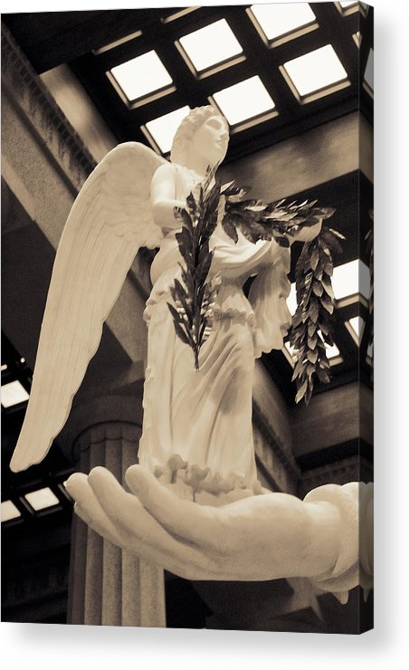 History Acrylic Print featuring the photograph Nike Goddess Of Victory Sepia by Linda Phelps