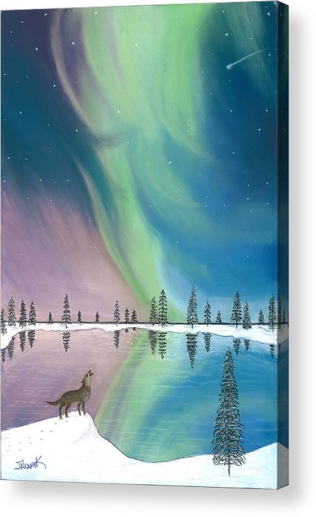 Northern Lights Acrylic Print featuring the painting Northern Lights The Wolf And The Comet by Jackie Novak
