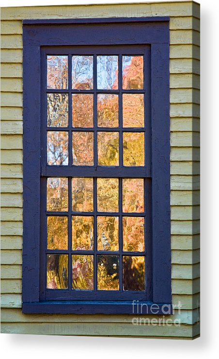 Colonial Acrylic Print featuring the photograph October Reflections 1 by Edward Sobuta
