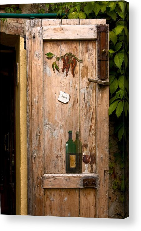 Old Door Acrylic Print featuring the photograph Old Door And Wine by Sally Weigand