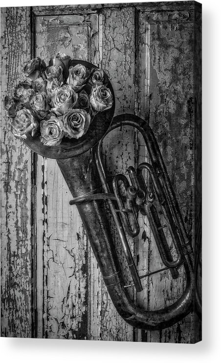Tuba Acrylic Print featuring the photograph Old Horn And Roses On Door Black And White by Garry Gay