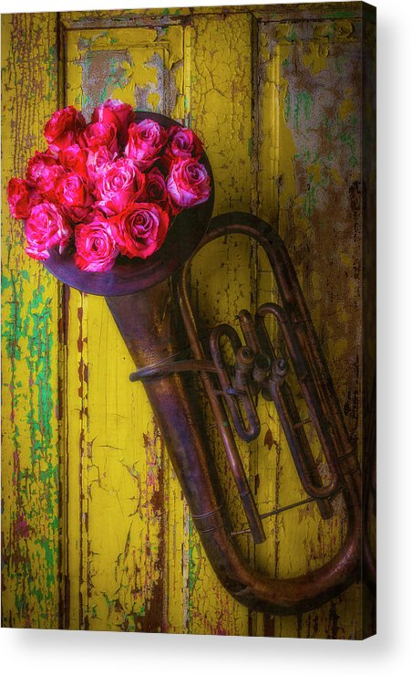 Tuba Acrylic Print featuring the photograph Old Horn And Roses On Door by Garry Gay