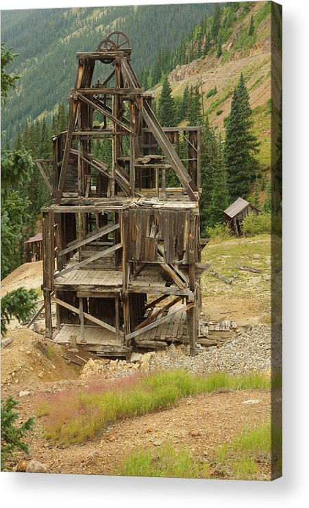 Mine Acrylic Print featuring the photograph Old Mining Equipment by Jerry Mann