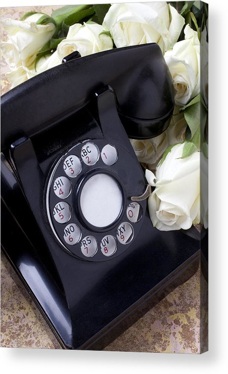 Old Acrylic Print featuring the photograph Old Phone And White Roses by Garry Gay