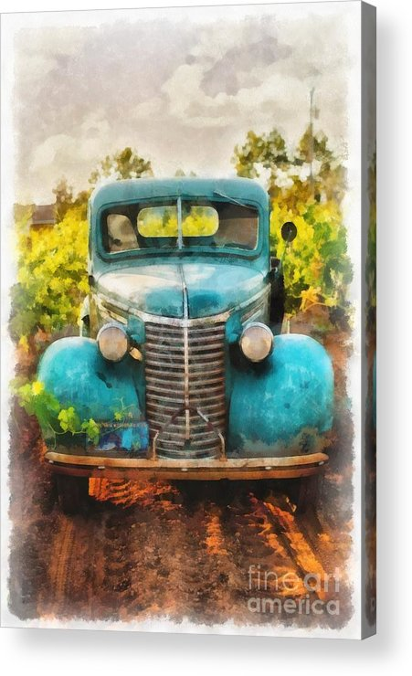 Wine Acrylic Print featuring the painting Old Truck At The Winery by Edward Fielding