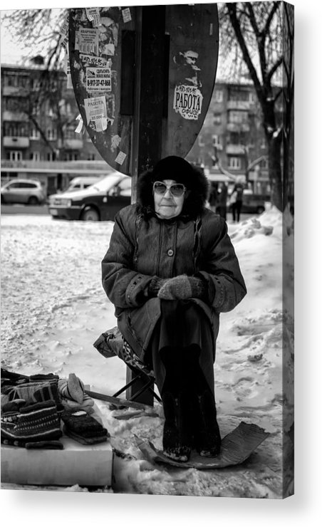 Selling Acrylic Print featuring the photograph Old Women Selling Woollen Socks On The Street Monochrome by John Williams