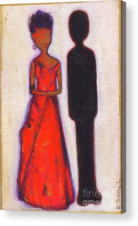 Girl Acrylic Print featuring the painting Our First Lady In Red Her Husband Is Black by Ricky Sencion