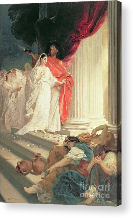 Matthew Acrylic Print featuring the painting Parable Of The Wise And Foolish Virgins by Baron Ernest Friedrich von Liphart