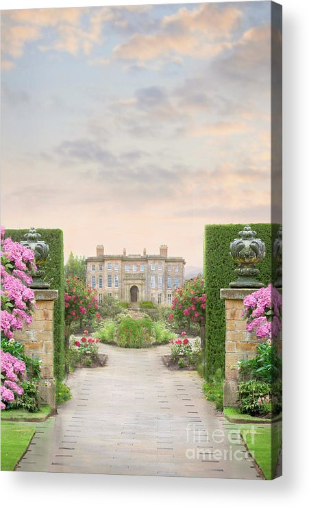 Mansion Acrylic Print featuring the photograph Pathway Leading To A Mansion Through Beautiful Gardens by Lee Avison