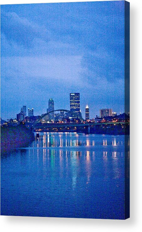 Pittsburgh Acrylic Print featuring the photograph Pittsburgh In Blue by John Toxey