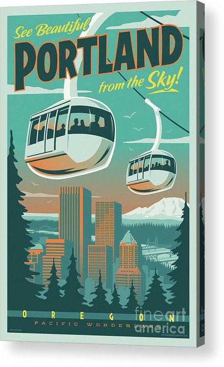 Vintage Acrylic Print featuring the digital art Portland Poster - Tram Retro Travel by Jim Zahniser