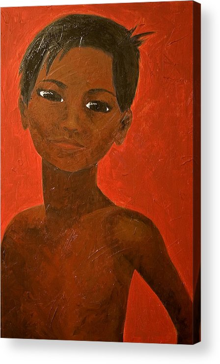 Portrait Acrylic Print featuring the painting Portrait Of A Boy by Michelle Key