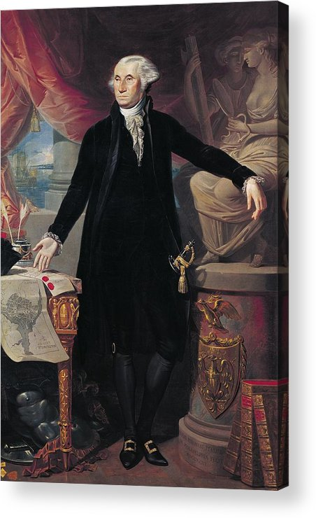 Portrait Acrylic Print featuring the painting Portrait Of George Washington by Joes Perovani