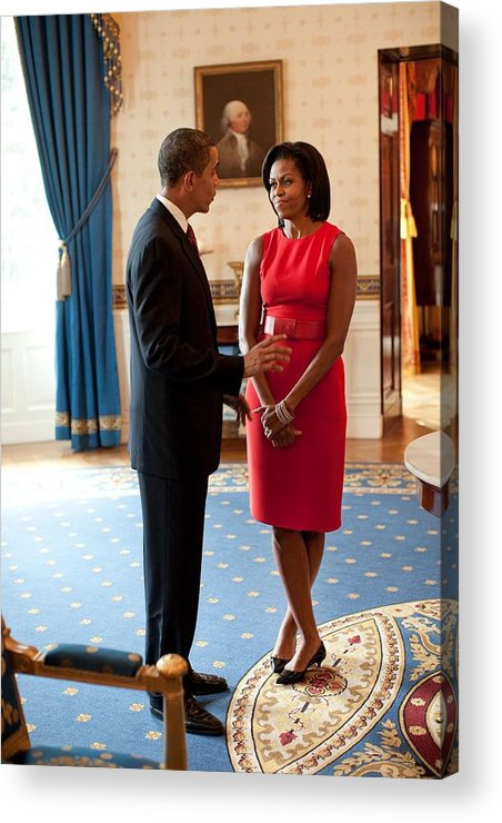 History Acrylic Print featuring the photograph President And Michelle Obama Talk by Everett