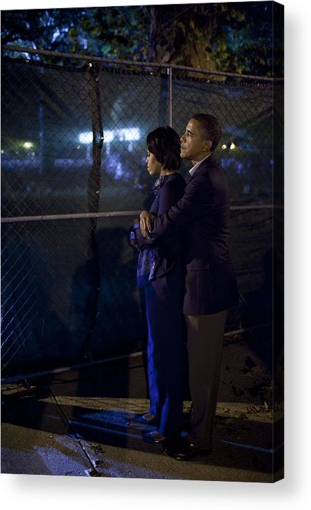 History Acrylic Print featuring the photograph President Obama Embraces Michelle by Everett