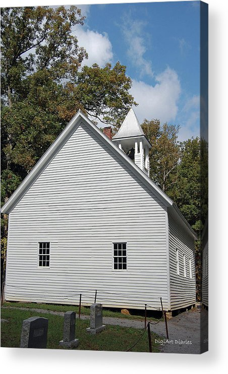 Cades Cove Acrylic Print featuring the digital art Primitive Baptist Church Est 1827 by DigiArt Diaries by Vicky B Fuller