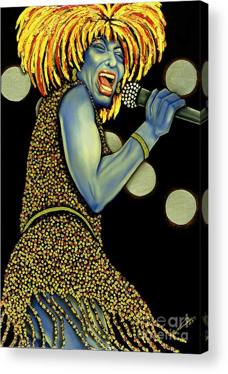 Portrait Acrylic Print featuring the painting private Dancer by Nannette Harris