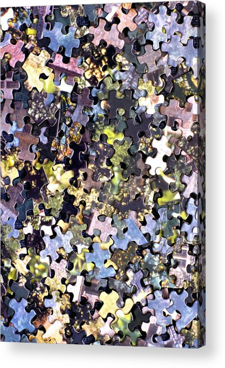 Puzzle Acrylic Print featuring the photograph Puzzle Piece Abstract by Steve Ohlsen