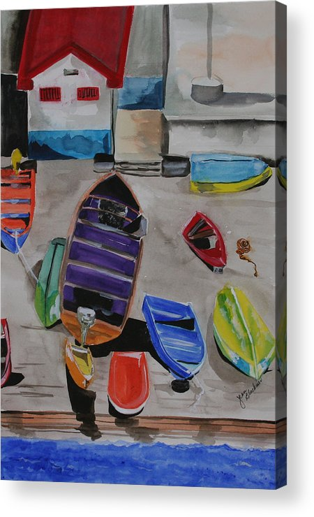 Boats Acrylic Print featuring the painting Rainbow On The Dock by Jean Blackmer