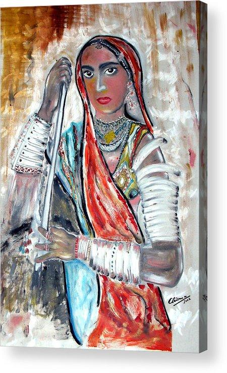 Woman Acrylic Print featuring the painting Rajasthani Woman by Narayanan Ramachandran