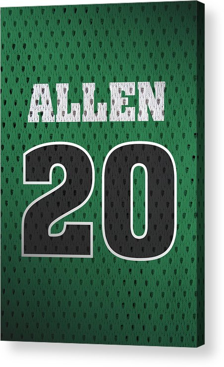 Ray Allen Acrylic Print featuring the mixed media Ray Allen Boston Celtics Retro Vintage Jersey Closeup Graphic Design by Design Turnpike