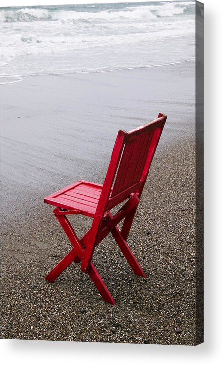 Red Acrylic Print featuring the photograph Red Chair On The Beach by Garry Gay