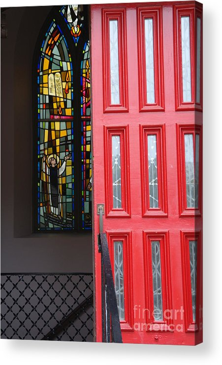 Red Door Acrylic Print featuring the photograph Red Door At Church In Front Of Stained Glass by David Bearden
