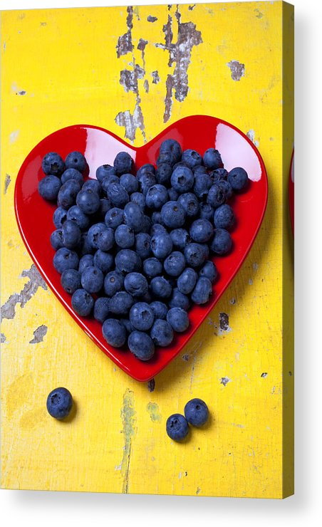 Red Heart Shaped Plate Acrylic Print featuring the photograph Red Heart Plate With Blueberries by Garry Gay