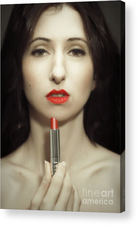 Lipstick Acrylic Print featuring the photograph Red Lipstick by Amanda Elwell
