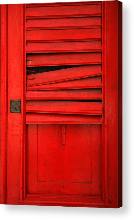 Red Acrylic Print featuring the photograph Red Shutter by Timothy Johnson