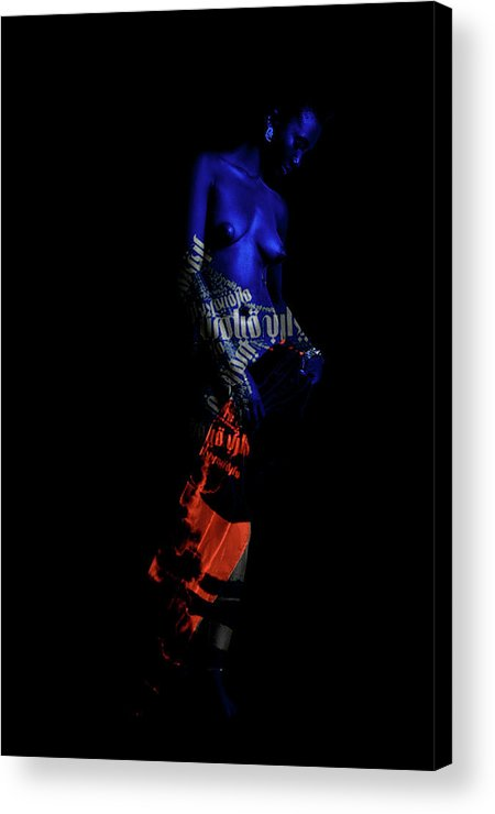 Figurative Acrylic Print featuring the digital art Reflecting Blue by Ronex Ahimbisibwe