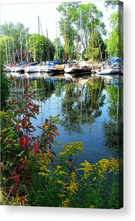 Flowers Acrylic Print featuring the photograph Reflections In The Pool by Ian MacDonald