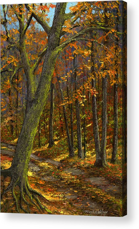 Landscape Acrylic Print featuring the painting Road In The Woods by Frank Wilson