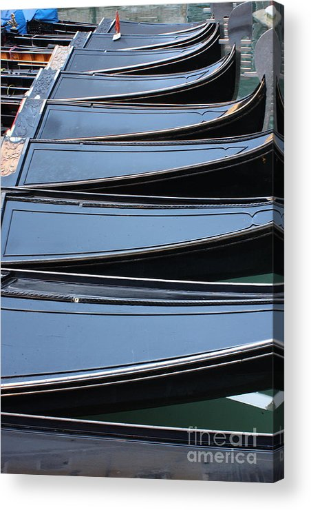 Italy Acrylic Print featuring the photograph Row Of Gondolas In Venice by Michael Henderson