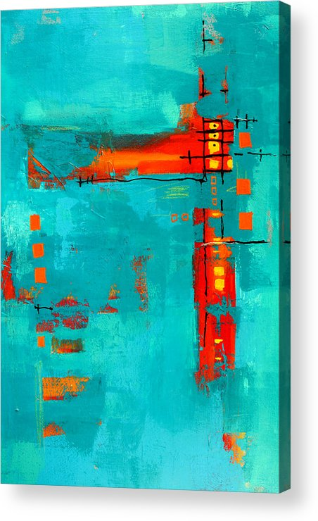 Turquoise Abstract Acrylic Print featuring the painting Rusty by Nancy Merkle