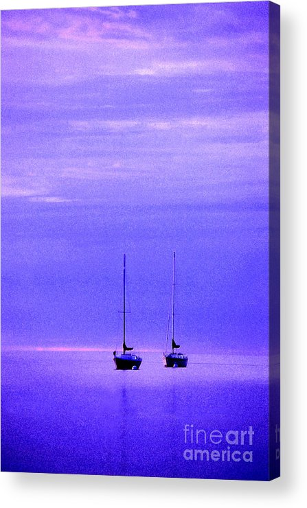 Sailboats Acrylic Print featuring the photograph Sailboats In Blue by Timothy Johnson