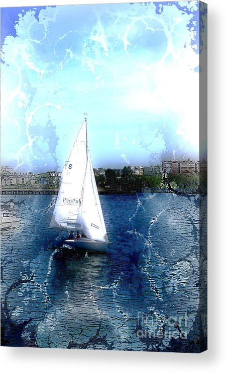 Sailboats Acrylic Print featuring the photograph Sailing In Boston Harbor by Julie Lueders