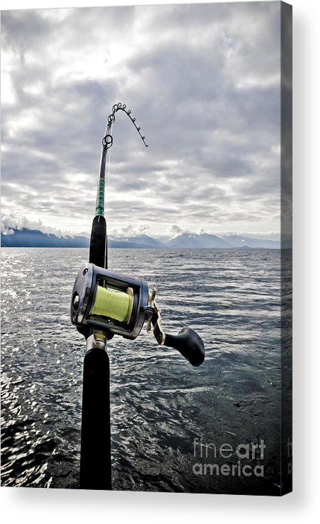 Abstract Acrylic Print featuring the photograph Salmon Fishing Rod by Darcy Michaelchuk