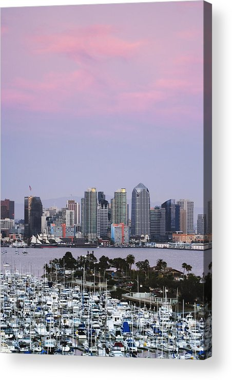 Architecture Acrylic Print featuring the photograph San Diego Skyline And Marina At Dusk by Jeremy Woodhouse