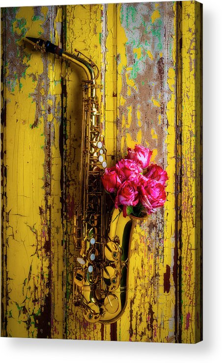 Sax Acrylic Print featuring the photograph Saxophone And Roses On Wall by Garry Gay