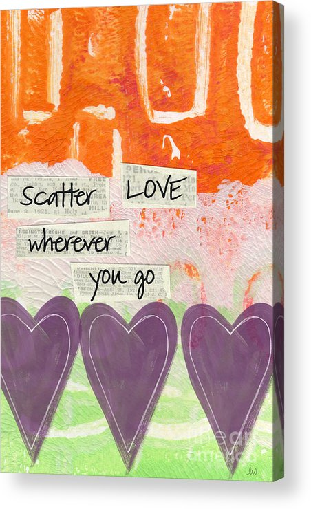 Abstract Acrylic Print featuring the mixed media Scatter Love by Linda Woods