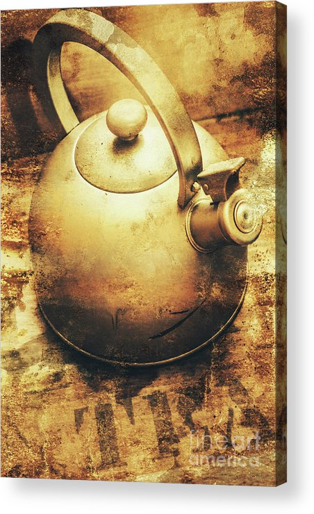 Vintage Acrylic Print featuring the photograph Sepia Toned Old Vintage Domed Kettle by Jorgo Photography - Wall Art Gallery