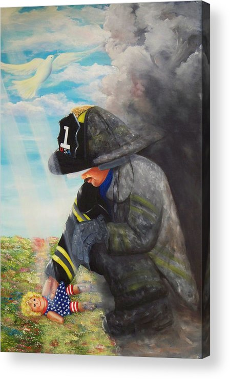 Portrait Acrylic Print featuring the painting September 11th by Joni McPherson