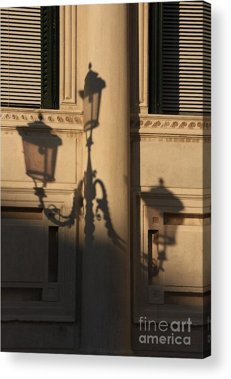 Venice Acrylic Print featuring the photograph Shadow Of A Lamp Post In Venice by Michael Henderson
