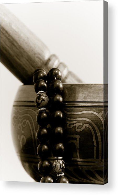 Buddhist Acrylic Print featuring the photograph Singing Bowl And Mala by Edward Myers