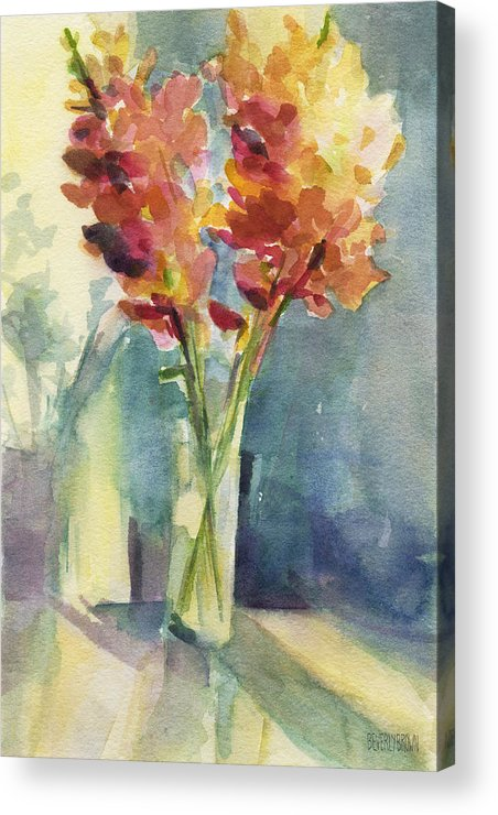 Floral Acrylic Print featuring the painting Snapdragons In Morning Light Floral Watercolor by Beverly Brown Prints